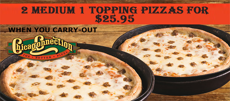 2 Medium 1-Topping Pizzas - $25.95